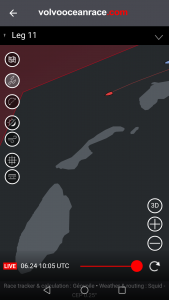 Een screenshot van de koers van de teams die boven de wadden langs varen.